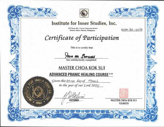 Diploma advanced pranic healing